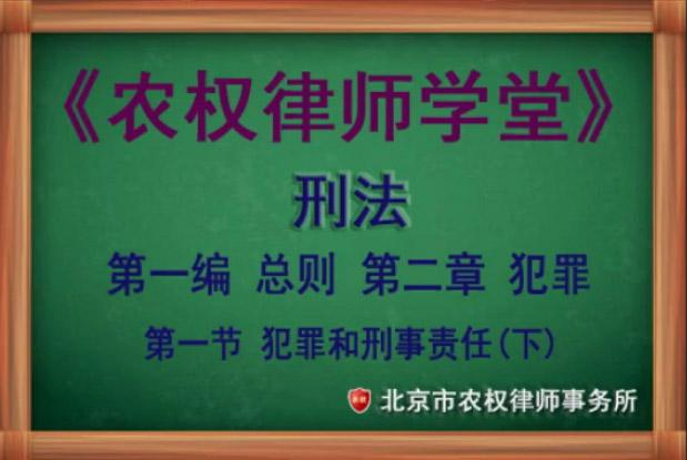 第二章 犯罪 第一节犯罪和刑事责任(下)